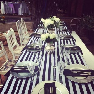 Linen Rentals 13 Black and white pin striped runners R125 Each