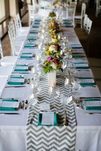 Linen Rentals 15 Gray and white chevron runners R35 Each