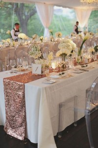 Linen Rentals 17 Rose gold sequence runners R75 each