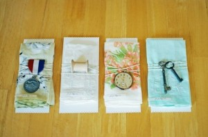 An assortment of regular household items can be used to decorate your napkins