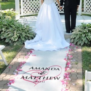Printed Aisle Runners 3 - White 10m aisle runner with 2 colour printing – R2500 to buy!