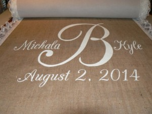 Printed Aisle Runners 4 - 10m Hessian aisle runner with white printing and lace – R2500 to buy!