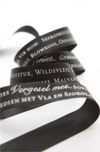 Menu printed on ribbon
