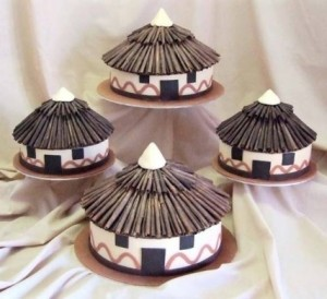 Traditional African Wedding Cakes 3 - Hut cakes – R1200 each