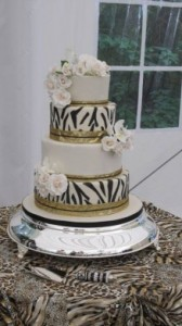 Traditional African Wedding Cakes 6 - Classical Zebra and rose cake – 4 tier – R4 650
