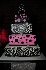 Traditional African Wedding Cakes 7 - Zebra – dot wedding cake – 4 tier – R4900